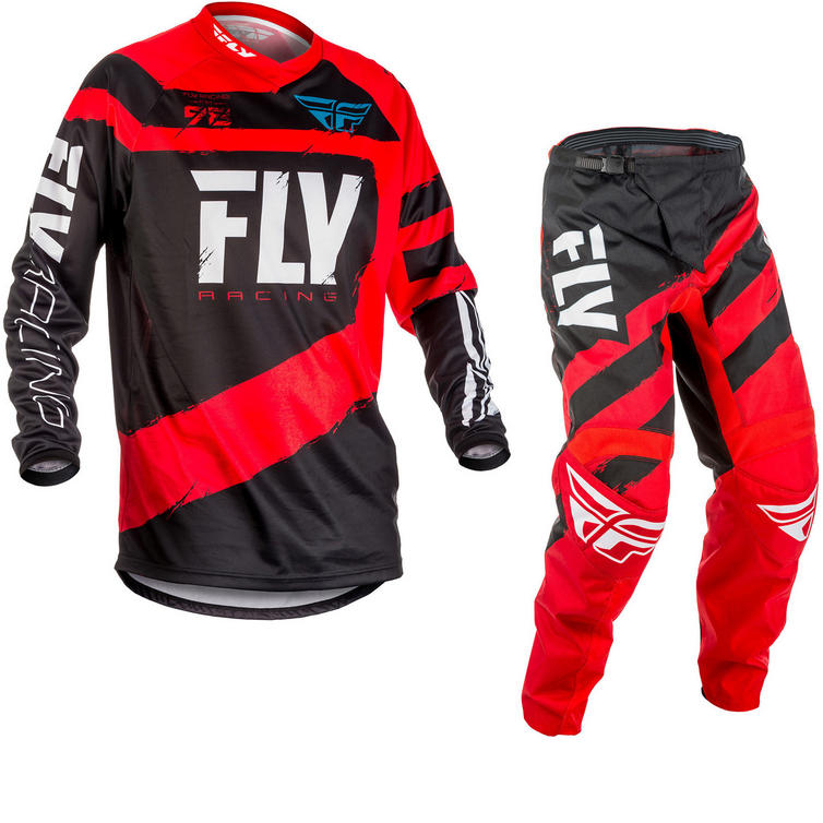 Fly Racing 2018 F-16 Motocross Jersey & Pants Red Black Kit