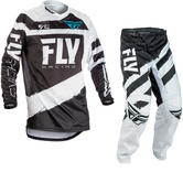 Fly Racing 2018 F-16 Youth Motocross Jersey & Pants Black White Kit