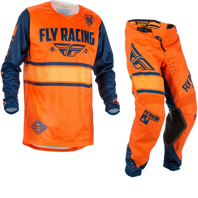 Fly Racing 2018 Kinetic Era Motocross Jersey & Pants Orange Navy Kit