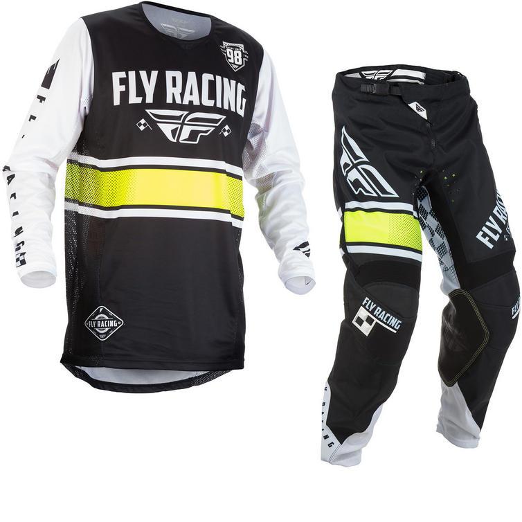 Fly Racing 2018 Kinetic Era Motocross Jersey & Pants Black White Kit