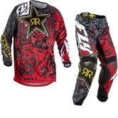 Fly Racing 2018 Kinetic Rockstar Motocross Jersey & Pants Black White Red Kit