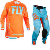 Fly Racing 2018 Lite Hydrogen Motocross Jersey & Pants Orange Blue Kit