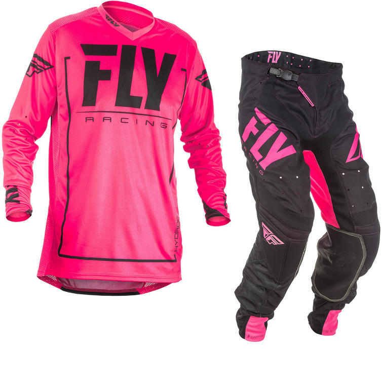 Fly Racing 2018 Lite Hydrogen Motocross Jersey & Pants Pink Black Kit