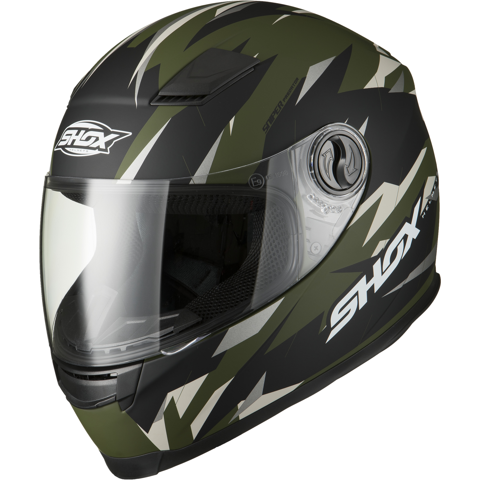 Shox Sniper Predator Full Face Motorbike Motorcycle Army