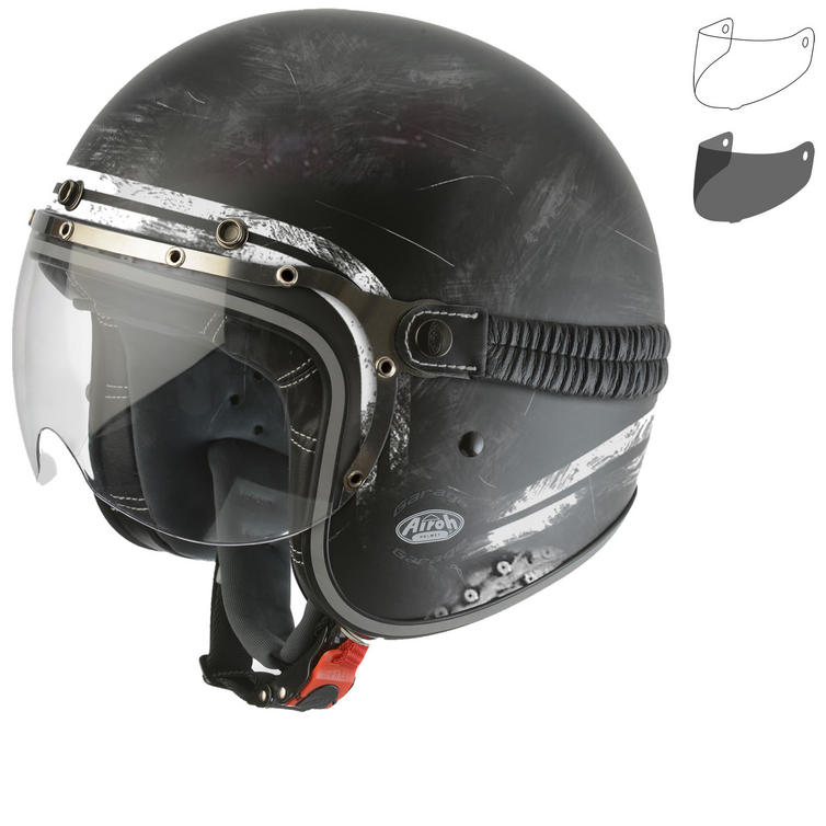 Airoh Garage Raw Open Face Motorcycle Helmet & Visor