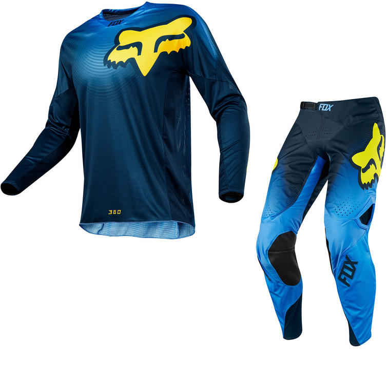 Fox Racing 360 Viza Motocross Jersey & Pants Blue Kit