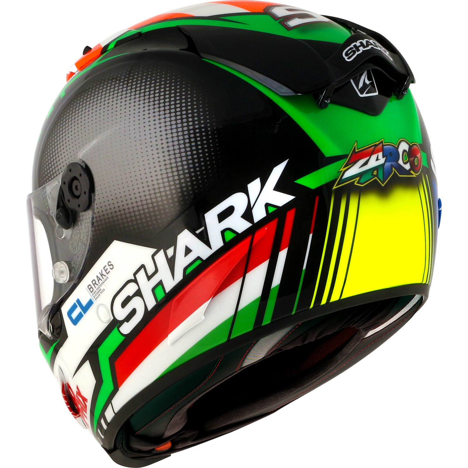 shark race r pro zarco black red green motorcycle helmet krg carbon replica ece ebay. Black Bedroom Furniture Sets. Home Design Ideas