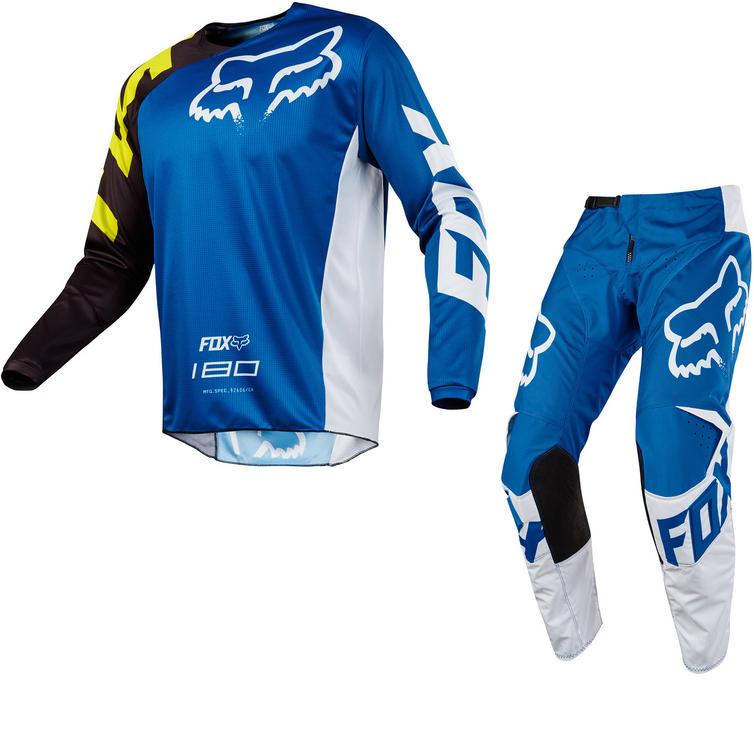 Fox Racing Youth 180 Race Motocross Jersey & Pants Blue Kit