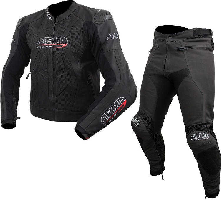 ARMR Moto Raiden 2 Leather Motorcycle Jacket & Trousers Black Kit