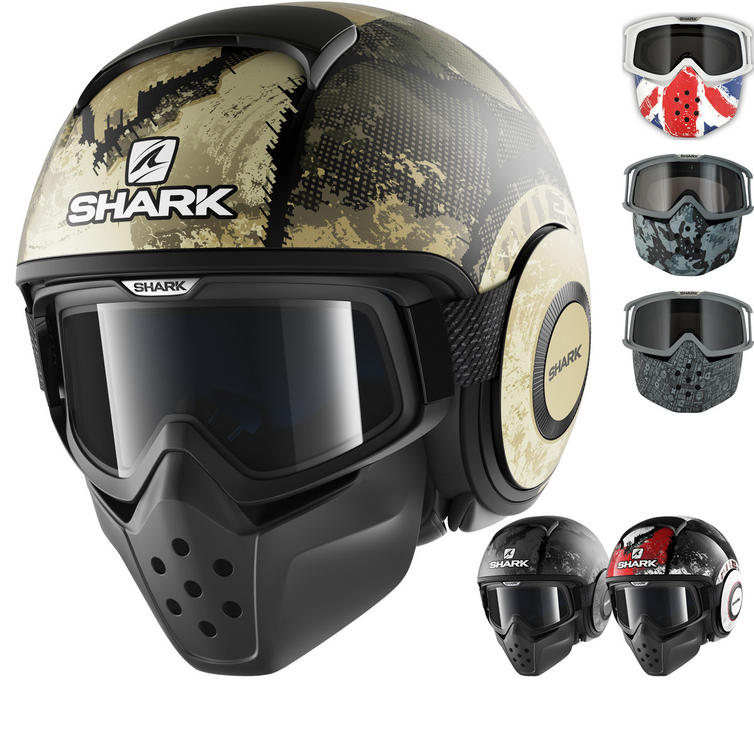 Shark Drak Evok Open Face Motorcycle Helmet with Goggle & Mask Kit