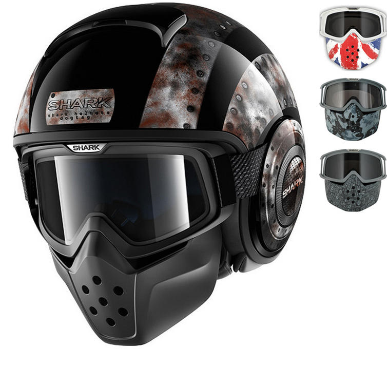 Shark Drak Dogtag Open Face Motorcycle Helmet with Goggle & Mask Kit