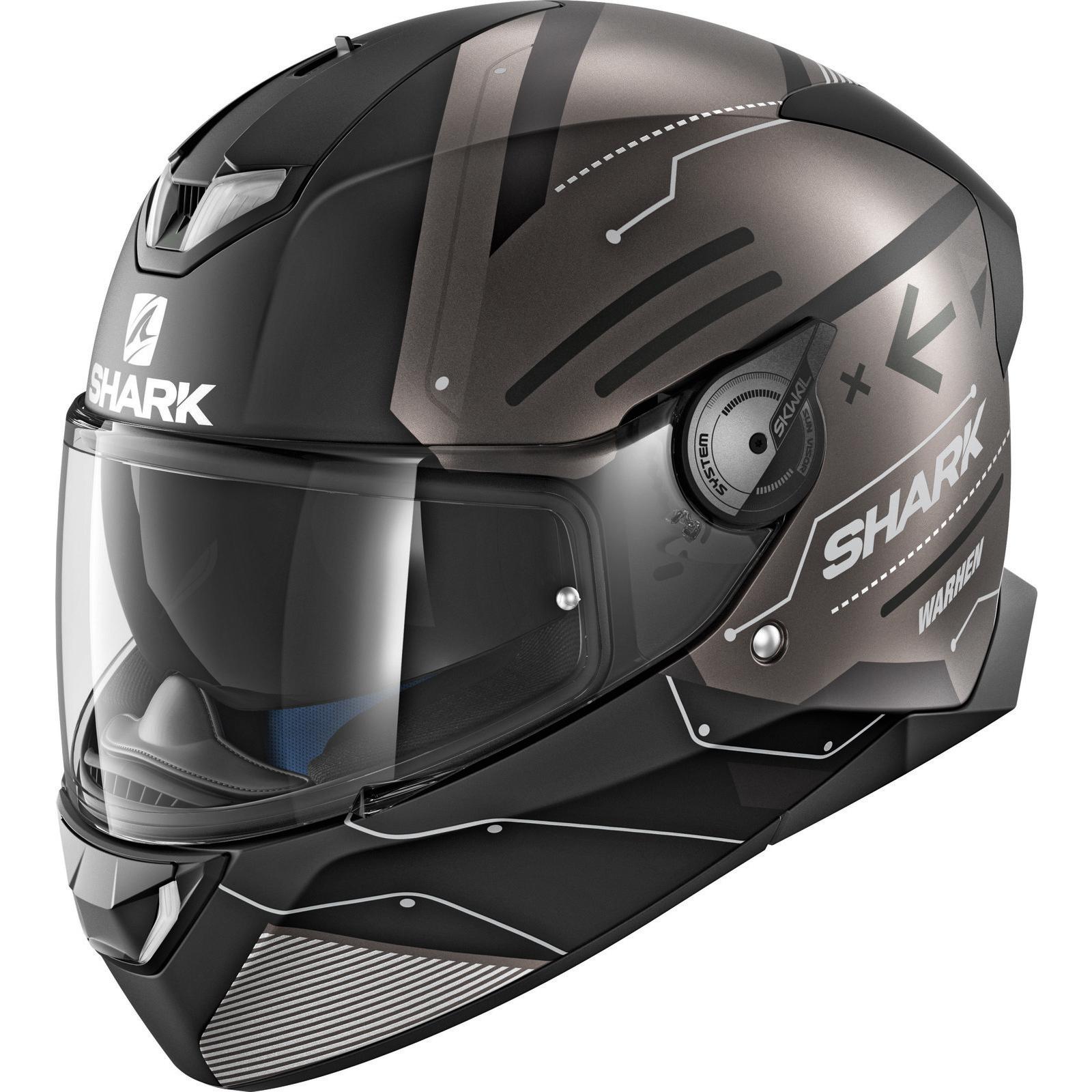 shark skwal 2 warhen motorcycle helmet visor street bike lid with led system ebay. Black Bedroom Furniture Sets. Home Design Ideas