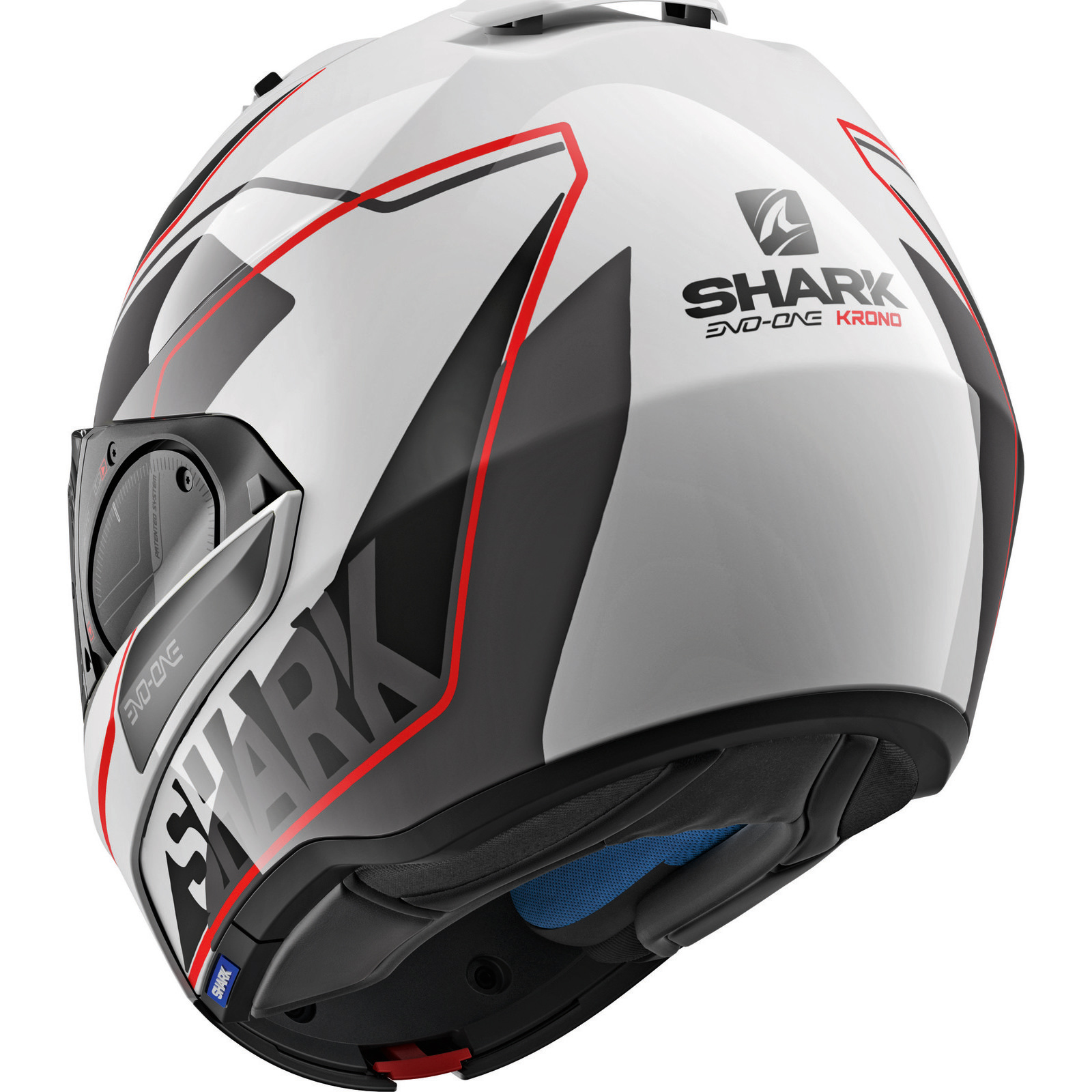 shark evo one 2 krono white red flip front motorcycle helmet wkr bike sun visor ebay. Black Bedroom Furniture Sets. Home Design Ideas