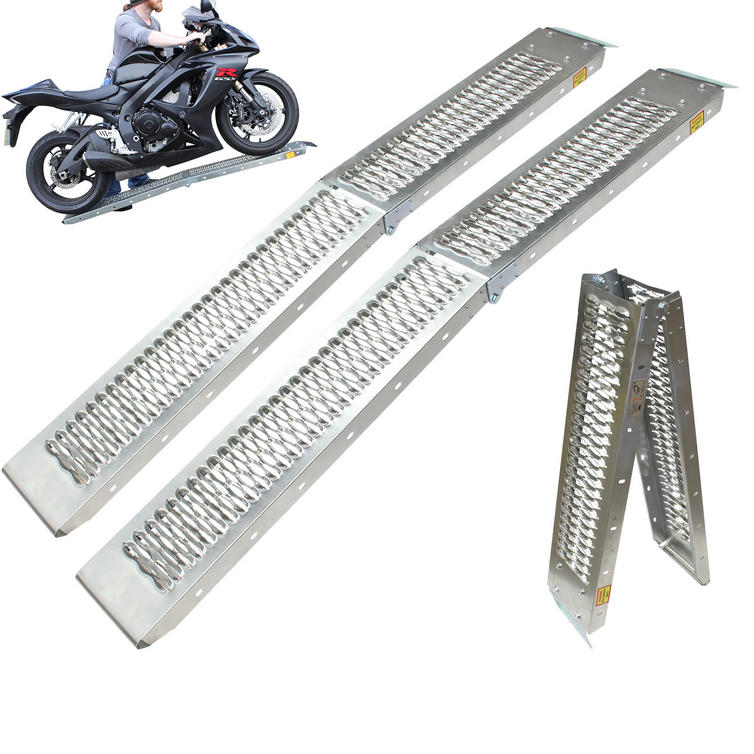 Black Pro Range (B5249) Folding Steel Motorcycle Loading Ramp (Pair)
