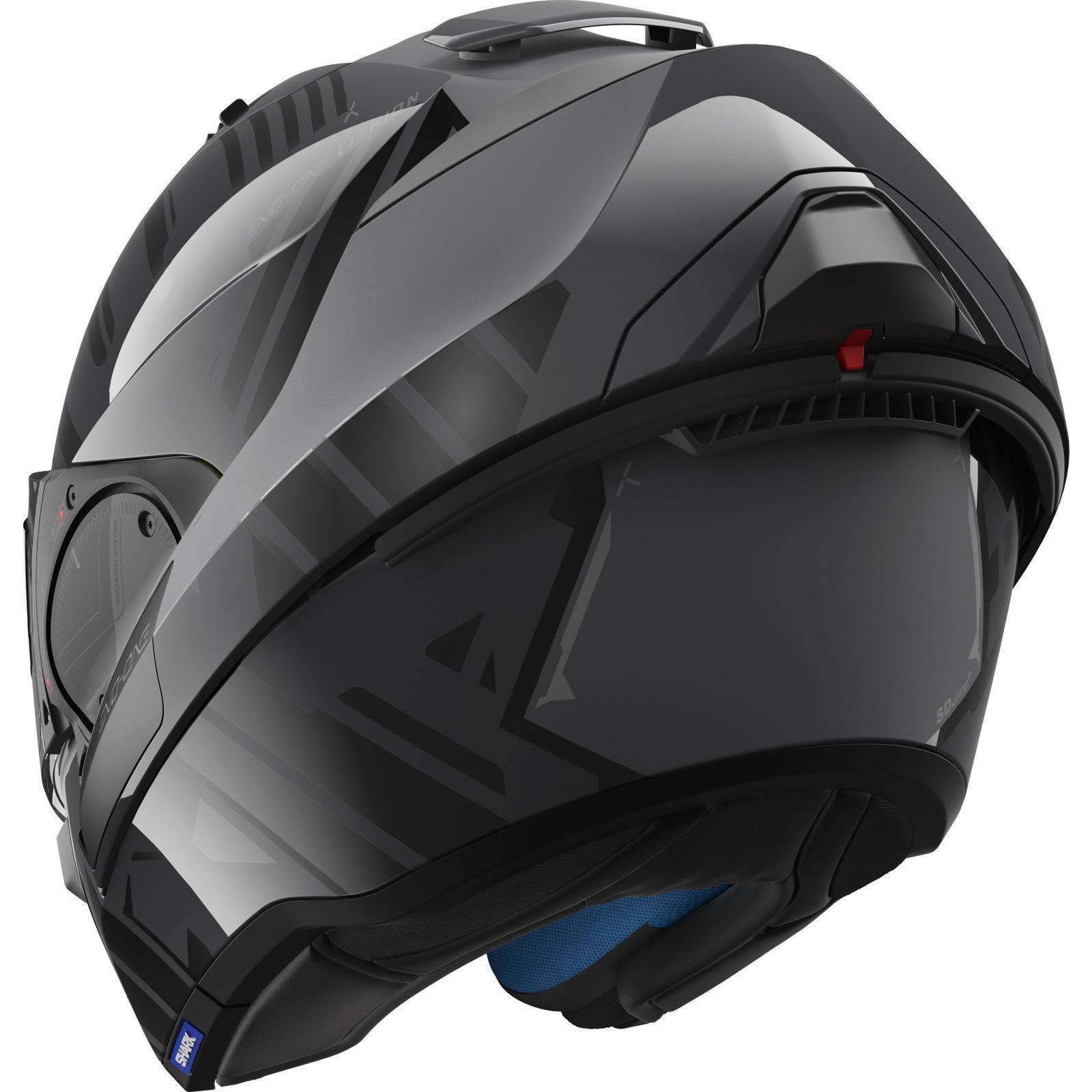 shark evo one 2 lithion black anthracite flip front motorcycle helmet kua crash ebay. Black Bedroom Furniture Sets. Home Design Ideas