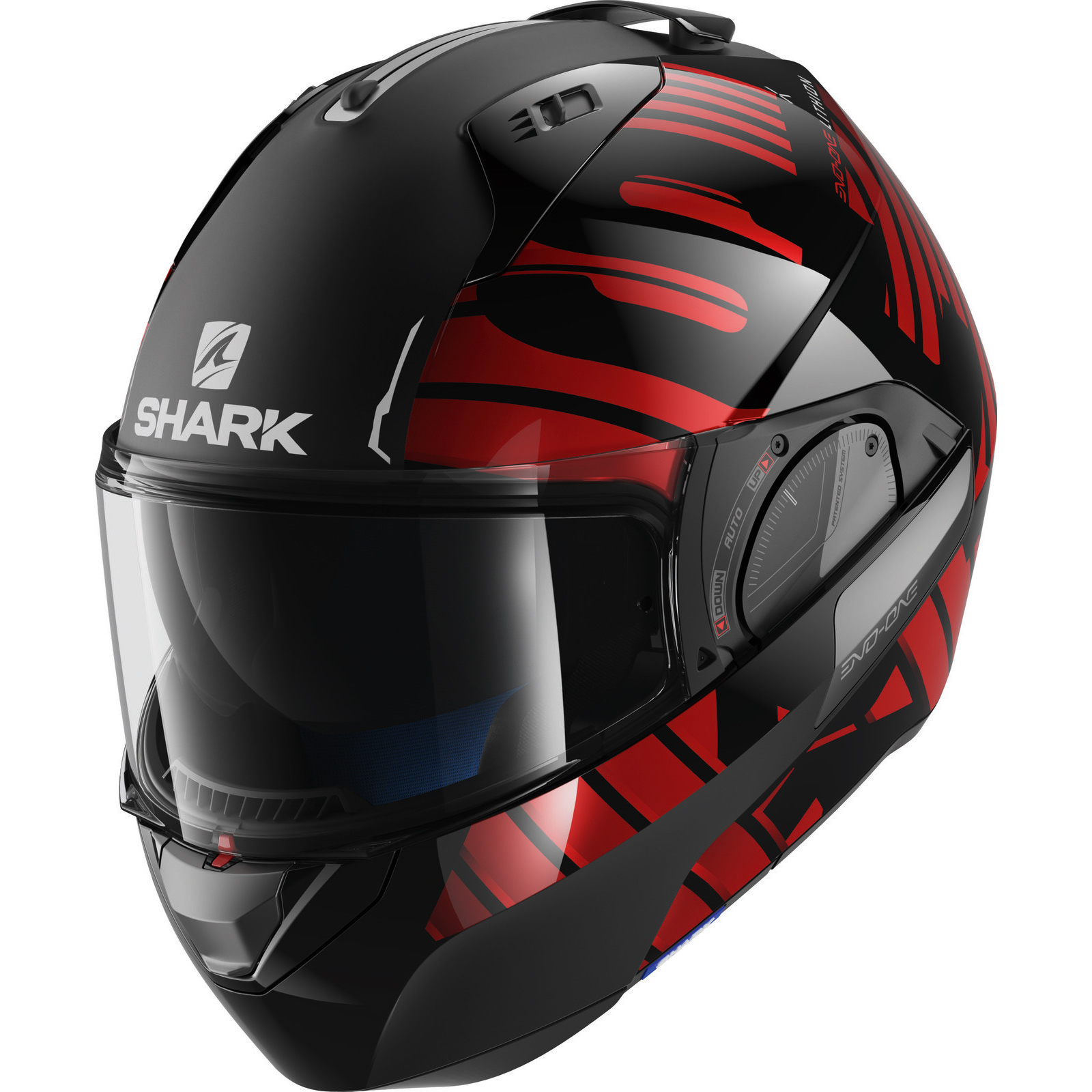 shark evo one 2 lithion black red flip front motorcycle helmet kur motorbike ece ebay. Black Bedroom Furniture Sets. Home Design Ideas