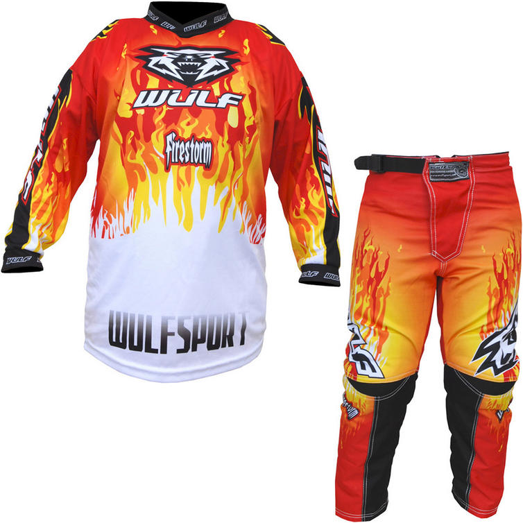 Wulf Firestorm Cub Motocross Jersey & Pants Red Kit