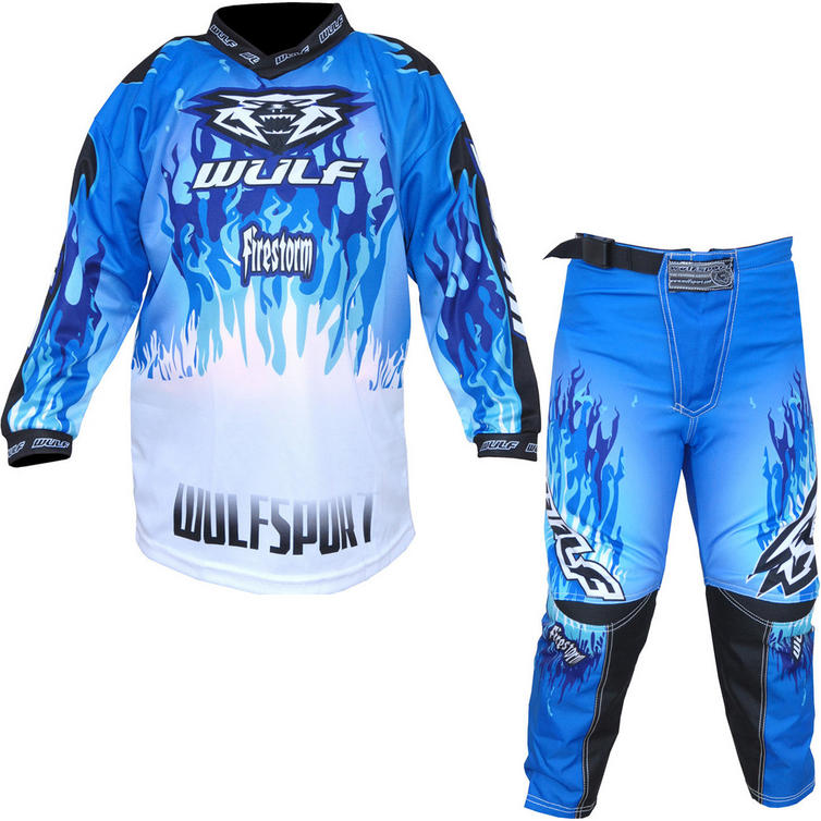 Wulf Firestorm Cub Motocross Jersey & Pants Blue Kit