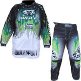 Wulf Firestorm Cub Motocross Jersey & Pants Green Kit