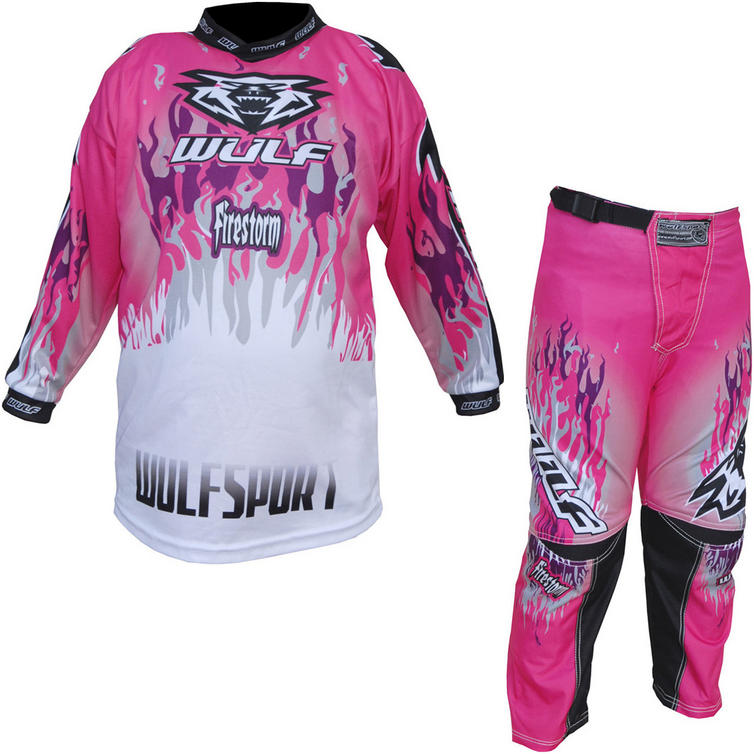 Wulf Firestorm Cub Motocross Jersey & Pants Pink Kit