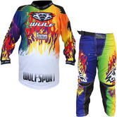 Wulf Firestorm Cub Motocross Jersey & Pants Multi Kit