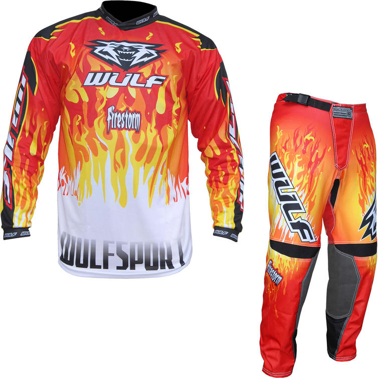 Wulf Firestorm Adult Motocross Jersey & Pants Red Kit