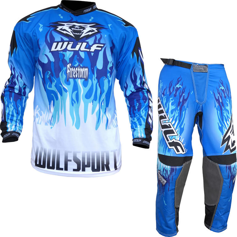 Wulf Firestorm Adult Motocross Jersey & Pants Blue Kit