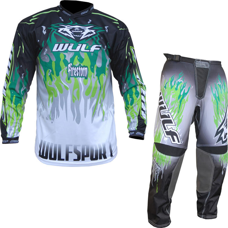 Wulf Firestorm Adult Motocross Jersey & Pants Green Kit