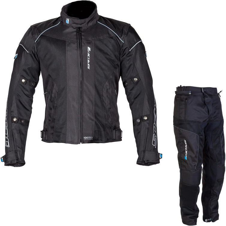Spada Air Pro Seasons Motorcycle Jacket & Trousers Black Kit