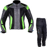 Spada Air Pro Seasons Motorcycle Jacket & Trousers Black Anthracite Flo/Black Kit