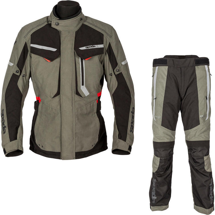 Spada Marakech Motorcycle Jacket & Trousers Washed Olive & Slate Kit