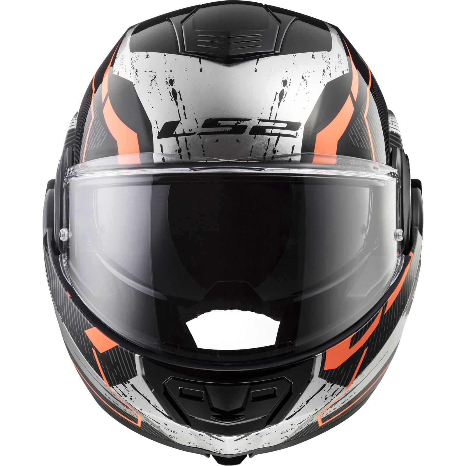 Ls2 Ff399 Valiant Roboto Black Orange Chrome Motorbike Helmet Crash