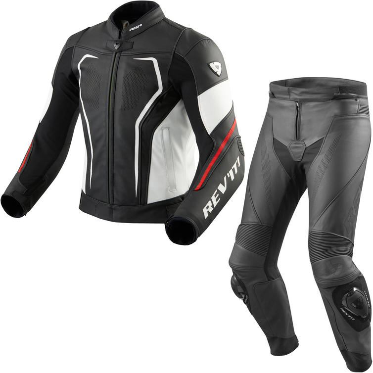 Rev It Vertex GT Leather Motorcycle Jacket & Trousers Black Red Kit