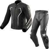 Rev It Vertex GT Leather Motorcycle Jacket & Trousers Black White Kit
