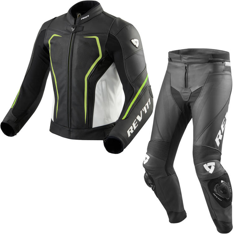 Rev It Vertex GT Leather Motorcycle Jacket & Trousers Black Neon Yellow White Kit