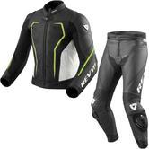 Rev It Vertex GT Leather Motorcycle Jacket & Trousers Black Neon Yellow White Kit