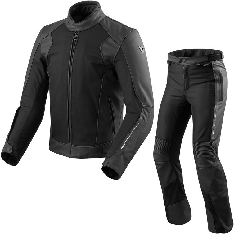 Rev It Ignition 3 Leather Motorcycle Jacket & Trousers Black Kit