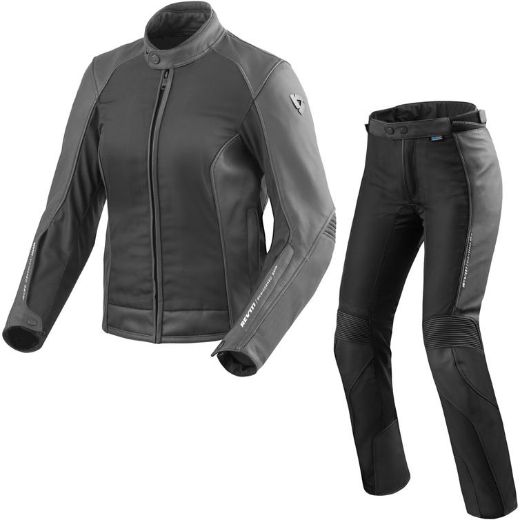 Rev It Ignition 3 Ladies Leather Motorcycle Jacket & Trousers Black Kit