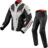 Rev It Vapor 2 Motorcycle Jacket & Trousers Silver Black Kit