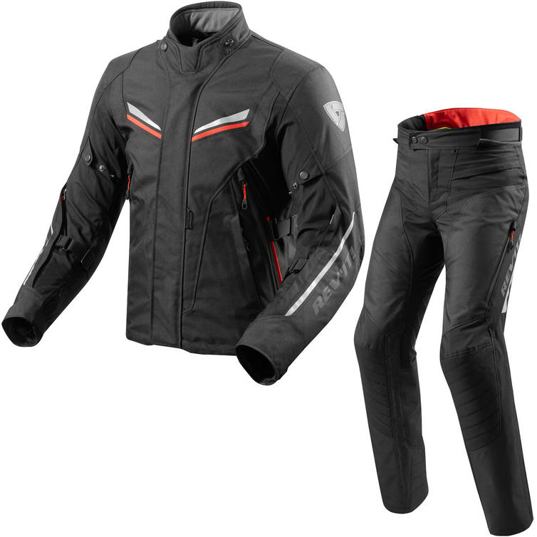 Rev It Vapor 2 Motorcycle Jacket & Trousers Black Red Kit