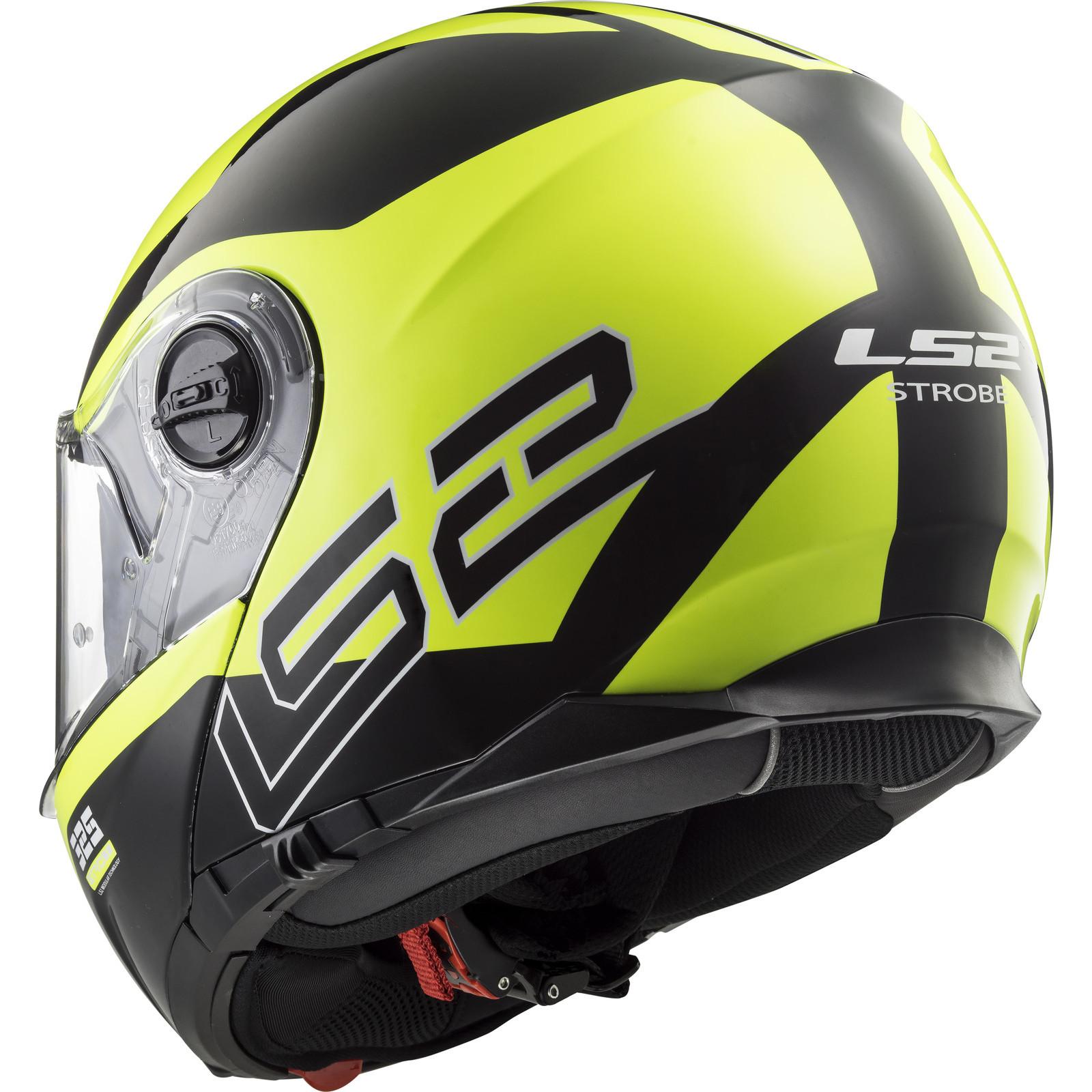 BLACK FULL FACE FLIP FRONT MOTORCYCLE MOTORBIKE HELMET LS2 FF325  ZONE YELLOW