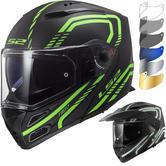 LS2 FF324 Metro Evo P-J Firefly Flip Front Motorcycle Helmet & FREE Visor