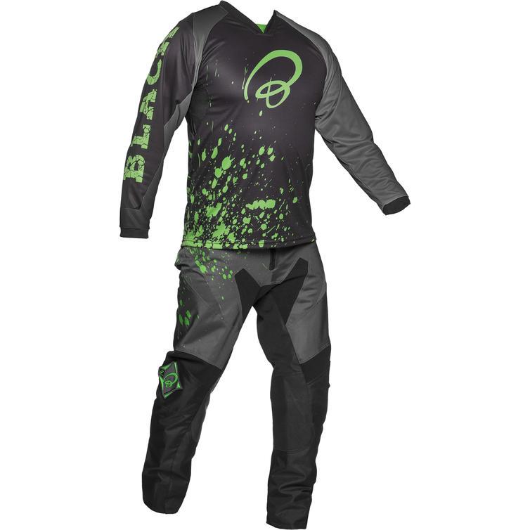 Black MX Splat Motocross Jersey and Trouser Green Kit