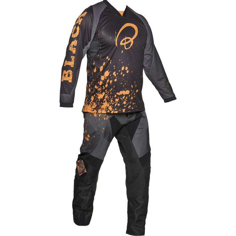 Black MX Splat Motocross Jersey and Trouser Orange Kit