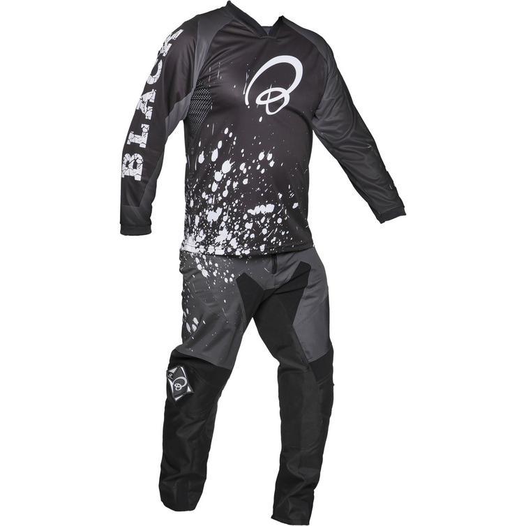 Black MX Splat Motocross Jersey and Trouser White Kit