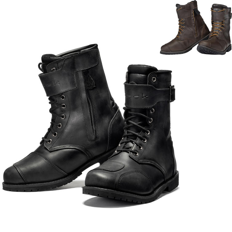 Black Heritage Leather Motorcycle Boots