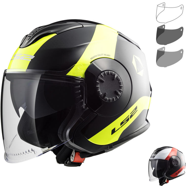 LS2 OF570 Verso Technik Open Face Motorcycle Helmet & Visor