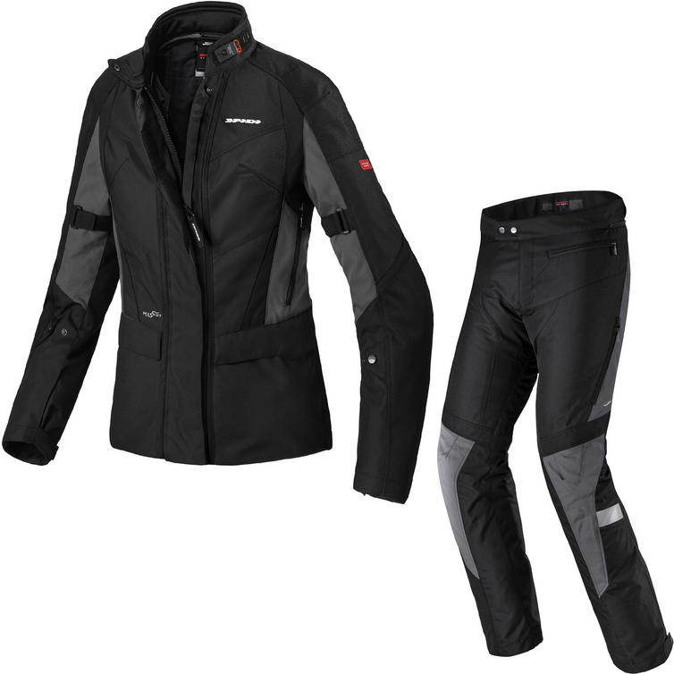 Spidi Traveler 2 H2OUT Ladies Motorcycle Jacket & Trousers Black Grey Kit