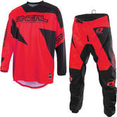 Oneal Matrix 2019 Ridewear Motocross Jersey & Pants Red Kit