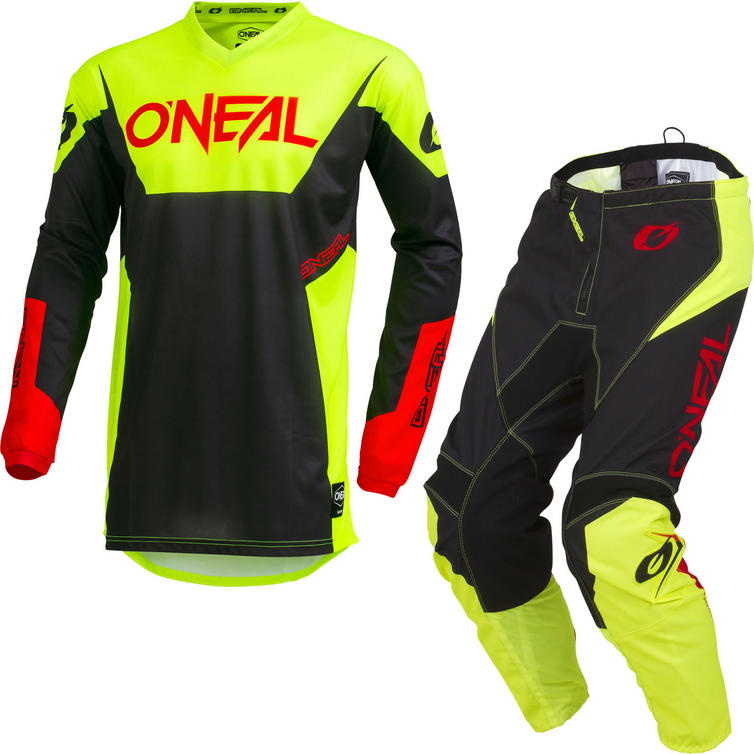 Oneal Element 2019 Racewear Motocross Jersey & Pants Neon Yellow Kit